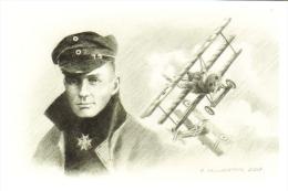 Manfred Von Richthofen  -  Red Baron  -  Portrait Au Crayon  -  Art Carte Par Benjamin Freudenthal - 1914-1918: 1ste Wereldoorlog