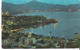 "Vista Panoramica de la Bahia Vista Nocturna, Acapulcos Bay at Night, Acapulco, Gro. Mexico  7"" x 4.3"" 17.5 cm x 11 cm"