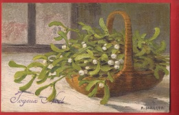 NR-15 Joyeux Noël  Panier De Branches De Gui. Circulé Sous Enveloppe En 1924 - Other