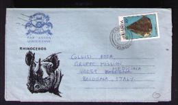 UGANDA Aerogramme Rhinoceros Birds Oiseaux Printed Minerals Mineraux CASSITERITE 1988 Cover Medicina Italy Sp3229 - Mineralen