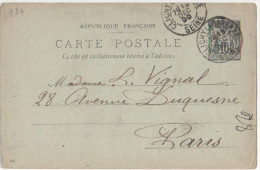 Entier Postal 1899 Type Sage 10 Centimes Cachet Clichy La Garenne Seine 7E/13 Decembre 1899  à Paris - 1877-1920: Période Semi Moderne