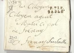 Sarthe - Sablé Pour Fresnay Sur Sarthe. LAVC En Port Payé De 1797. MP 23x9. Indice 13 - 1701-1800: Precursors XVIII