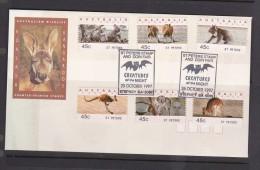 Australia 1997 Koalas And Kangaroos Counter-printed Stamps, St Peters, FDC - Ersttagsbelege (FDC)