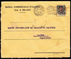 "Italy 1924, Cover Milano To Zagreb W./ Postmark Milano, Prefin ""B.C.I."" - 1900-44 Vittorio Emanuele III"