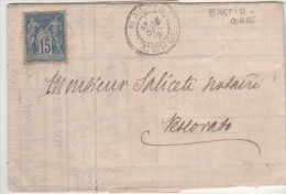 Lettre Facture Banque  Bastia 1889 Type Sage 15 Centimes Bleu Cachet Bastia Corse 15 Octobre 1889 - 1877-1920: Période Semi Moderne