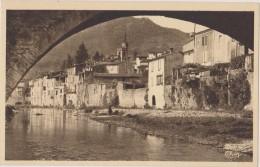 Gard,sumène,centre De La Ville Et Arche Du Vieux Pont,village Au Bord De L´eau - Sumène