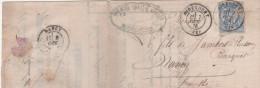 Lettre Bordereau Gouache Redly & Voirin Successeurs M Aubry Banque1876  Sage 25 C Bleu Cachet  Mirecourt  Nancy Meurtre - 1849-1876: Classic Period