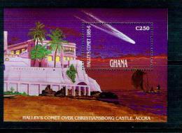 T06 Ghana 1986 Halley Sheetlet MNHBOX-16 - Space