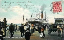 LIVERPOOL. LANDING STAGE - LA BANCHINA DI SBARCO DEL PORTO AGLI INIZI DEL '900. BELLA CARTOLINA DEL 1906 - Inghilterra