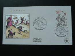FDC Don Quichotte Moulin Windmill Cheval Horse Monaco 2004 - Molens