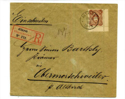 LETTRE RECOMMANDEE ALTKIRCH POUR OBERMORSCHWIHR  / ELSASS DEUTSCHLAND / RETOUR A L´ENVOYEUR / 1888 OBERMORSCHWEILER - Poststempel (Briefe)
