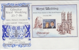 Gibraltar 1986 Royal Wedding M/s FDC (F2697) - Gibraltar