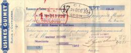 Lettre Change  6/1/1928 Usines GUIMET Bleus D'Outremer FLEURIEU Sur SAONE  Rhône Pour Gourdon Lot - Déchirure - Cambiali
