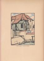 1920 - La Rue De La Geole à Pont-L'Evêque - Bois Gravé De Georges DELAW (1871-1938) - FRANCO DE PORT - Estampes & Gravures