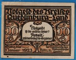 QUEDLINBURG-LAND  50 PFENNIG 1923  Catalog: G/M 1089.1a. - [11] Emissions Locales