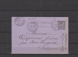 24 - Entier Postal -  Courriers Convoyeurs  - Ligne Marmande A Bergerac   - 1889 - 1877-1920: Semi-Moderne