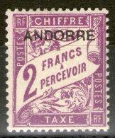 ANDORRE: Taxe N°7 *       - Cote 18€ -