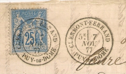 CLERMONT FERRAND Puy De Dome Sur Lettre SAGE. SUPERBE Frappe. - 1877-1920: Periodo Semi Moderno