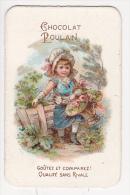 Chromo Gaufré CHOCOLAT POULAIN Fillette Et Panier Roses - Poulain
