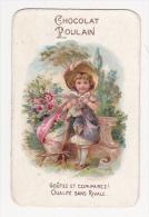 Chromo Gaufré CHOCOLAT POULAIN Fillette Colombe Et Bouquet De Roses - Poulain