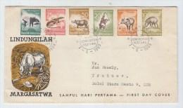 Indonesia GORILLA RHINOCEROS REPTILE FDC 1959 - Monkeys