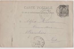 Entier Postaux CP 1894 Type Sage 10 Centimes Cachet  Convoyeur Ambulant Hirson à Maubeuger - Cartes Postales Types Et TSC (avant 1995)