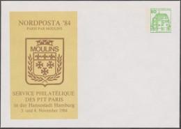 Berlin 1984. Privatganzsache, Entier Postal Timbré Sur Commande. Nordposta. Blason De Moulins, France. Poste Française - Enveloppes