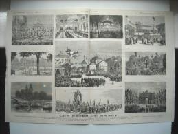 GRAVURE 1878. LES FETES DE NANCY. INAUGU STATUE DE M. THIERS. L'HOTEL DE VILLE. FETE AUS HALLES. ASCENSION D'UN BALLON.. - Prints & Engravings