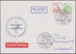 Berlin 1986. Privatganzsache, Entier Postal Timbré Sur Commande. Flughafen Hamburg, Aéroport De Hambourg. Ballon, Sirène - Aviones