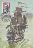 Carte Premier Jour Saint Paul Réunion 3/10/1965 Tricentenaire Du Peuplement De L´ile Bourbon Timbre 15F CFA - Storia Postale