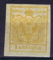 Austria: 1850   Yv Nr 1 B Machine Paper MH/*   With Very Wide Borders Some Paper On Back - 1850-1918 Imperium