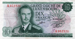 Luxembourg 10 Francs 1967 Banknote PK 53 VF - Luxemburg