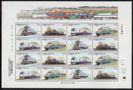 Korea South MNH Scott #2045 Minisheet Of 16 4 Different 170w Diesel And Electric Trains - Corée Du Sud