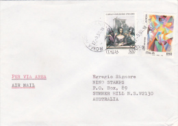 Italy 1993 Cover Sent To Australia, With 500 Lire Goldoni And 850 Lire Europa - 6. 1946-.. Republic