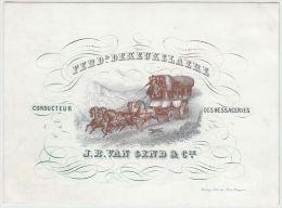 24091g CONDUCTEUR - MESSAGERIES - Fer. DEKEUKELAERE - J. B. VAN GEND & Cie. - Carte Porcelaine 14.2x10.5c - Cartes De Visite
