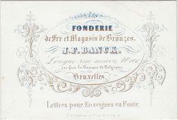 24121g FONDERIE - FER - BRONZES - J.F. BANCK - Rue Neuve, 106 - Bruxelles - Carte Porcelaine 10.4x7c - Visitekaartjes