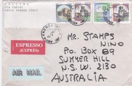 Italy 1995 Cover Espresso Sent To Australia, With Castles 450, 1000 X 2 And 2000 Lire Def - 6. 1946-.. Republic