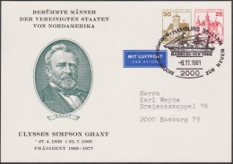 Berlin 1981. Privatganzsache, Entier Postal Timbré Sur Commande.Célébrités Américaines. Ulysses Simpson Grant, Voilier - Barcos