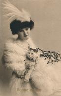 """FEMMES - FRAU - LADY - CAT - Jolie Carte Fantaisie Viennoise Portrait Femme Et Chat De """"Bonne Année"""" - Women"""