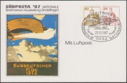 Berlin 1987. Privatganzsache, Entier Postal Timbré Sur Commande. Südposta. Süddeutscher Flug 1912. Avion - Aviones