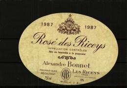 Etiquette -          Rosé Des RICEYS   1987      A. Bonnet - Non Classés