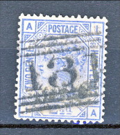 UK 1880-81 Victoria - N. 62 - 2,5 Penny Azzurro AI Tavola 22  Usato - Used Stamps