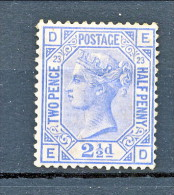 LUX - 1880-81 Victoria - N. 62 - 2,5 Penny Azzurro DE Tavola 23  MH Molto Fresco Cat £ 575 = € 630 - Unused Stamps