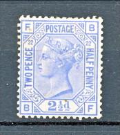 UK 1880-81 Victoria - N. 62 - 2,5 Penny Azzurro FB Tavola 22  MNH (due Mini Punti Di Ruggine, Comunque Bellissimo) - Unused Stamps