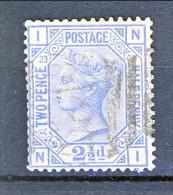 UK 1880-81 Victoria - N. 62 - 2,5 Penny Azzurro IN Tavola 23  Usato - Used Stamps
