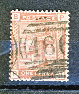 UK 1880-81 Victoria - N. 68 - 1 Penny Bruno Rosso BP Usato - Used Stamps