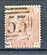 UK 1880-81 Victoria - N. 68 - 1 Penny Bruno Rosso KD Usato - Used Stamps