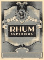 """0864 """"RHUM SUPERIEUR - VERY FINE""""  ETICHETTA ORIGINALE. - Rhum"""