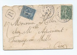 Lettre Recommandée De Levallois Perret Pour Fresnoy En Thelle Avec N° 130 Et 132 1905 - Marcophilie (Lettres)