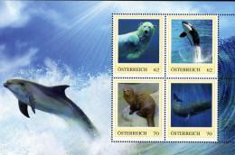 ÖSTERREICH 2011 ** Eisbär, Wal, Küstenotter, - PM Personalized Stamps - Block MNH - Ohne Zuordnung
